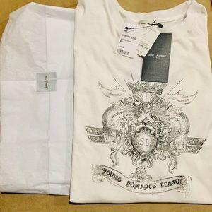 Saint Laurent White Young Romance League T-shirt